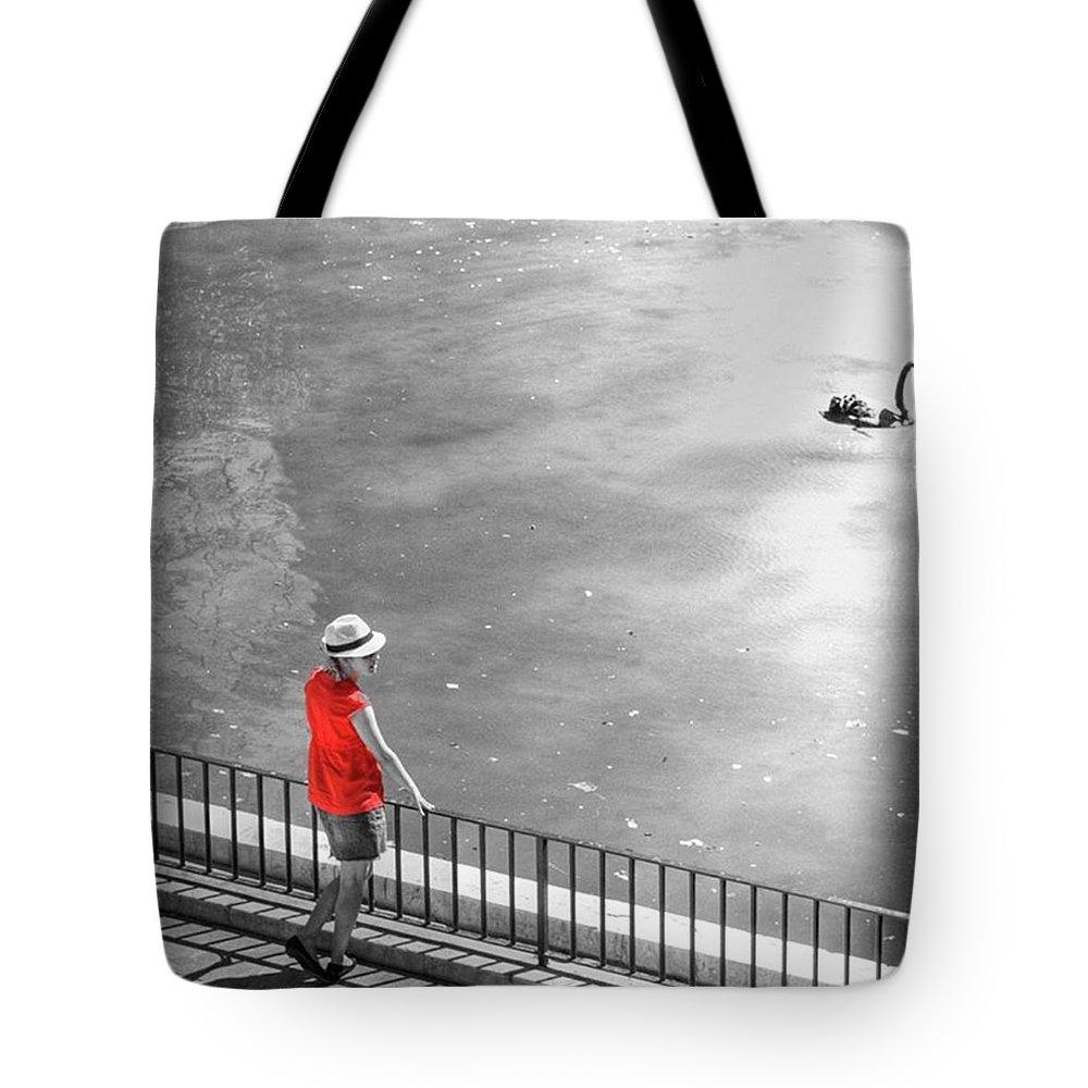 Palmademallorca Tote Bag featuring the photograph Red Shirt, Black Swanla Seu, Palma De by John Edwards