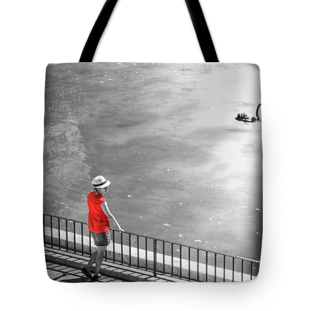 Palmademallorca Tote Bag featuring the photograph Red Shirt, Black Swanla Seu, Palma De by John Edwards
