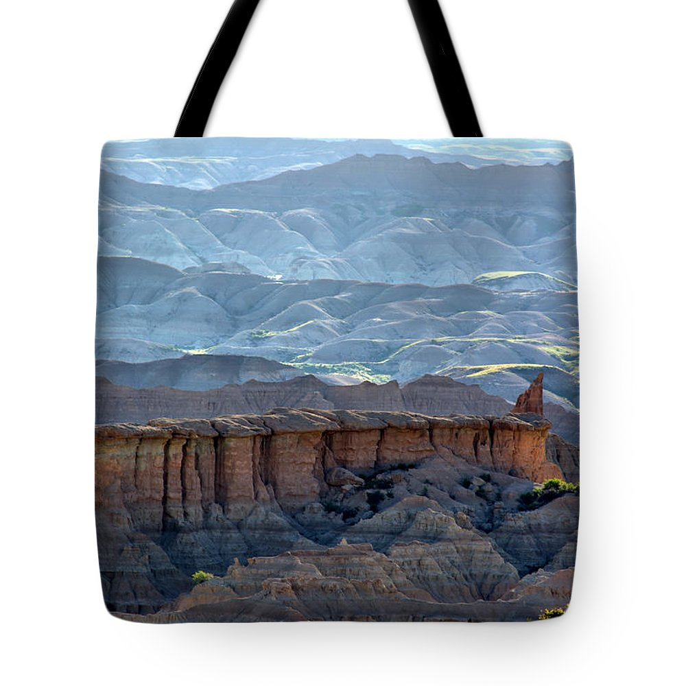 Badlands Tote Bag featuring the photograph Red Shirt Formation by Bonfire Photography