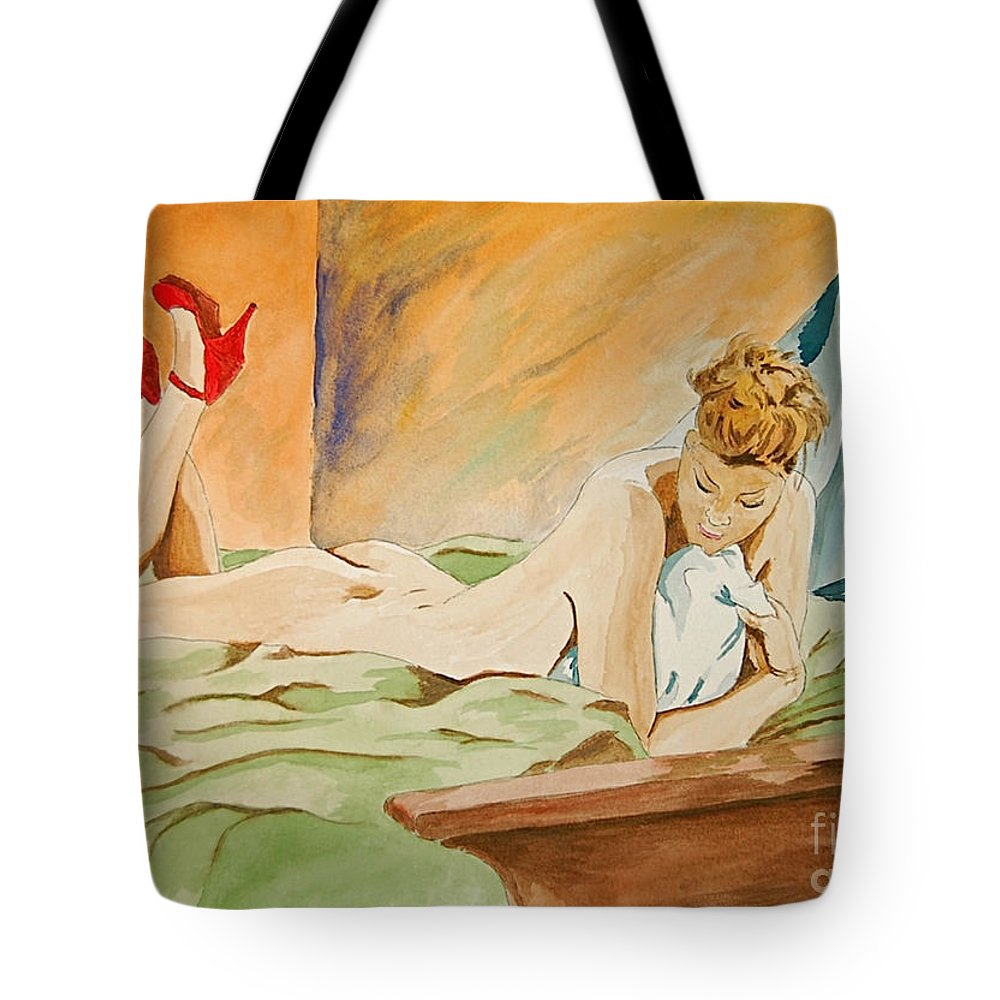 Nude Tote Bag featuring the painting Red Shoes by Herschel Fall