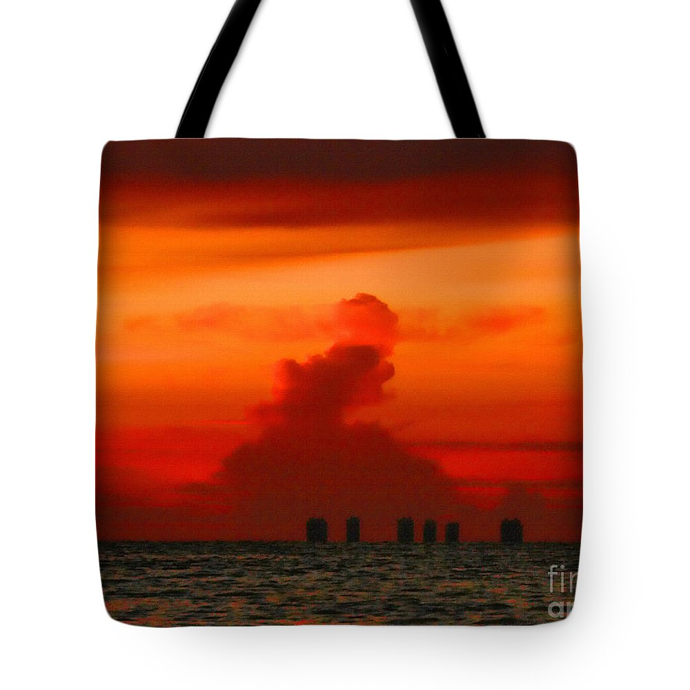 Sunrise Tote Bag featuring the photograph Red Sky by Jeff Breiman