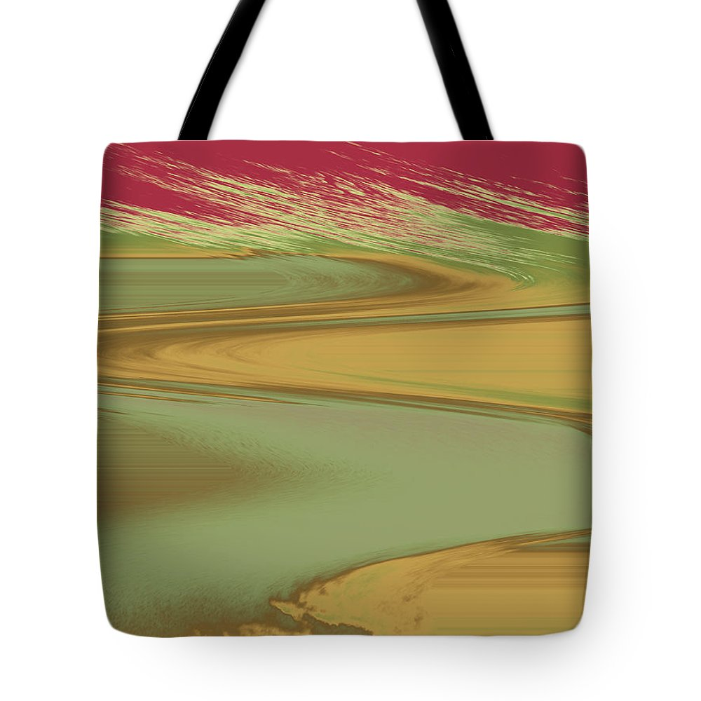 Abstract Tote Bag featuring the digital art Red Sky Landscape by Lenore Senior