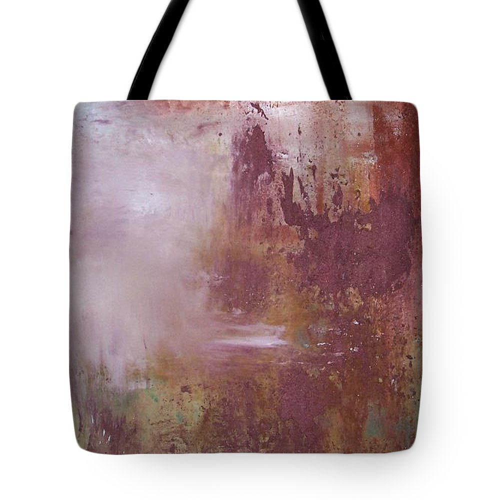 Mixed Media Tote Bag featuring the painting Red Sky Sold by Elizabeth Klecker