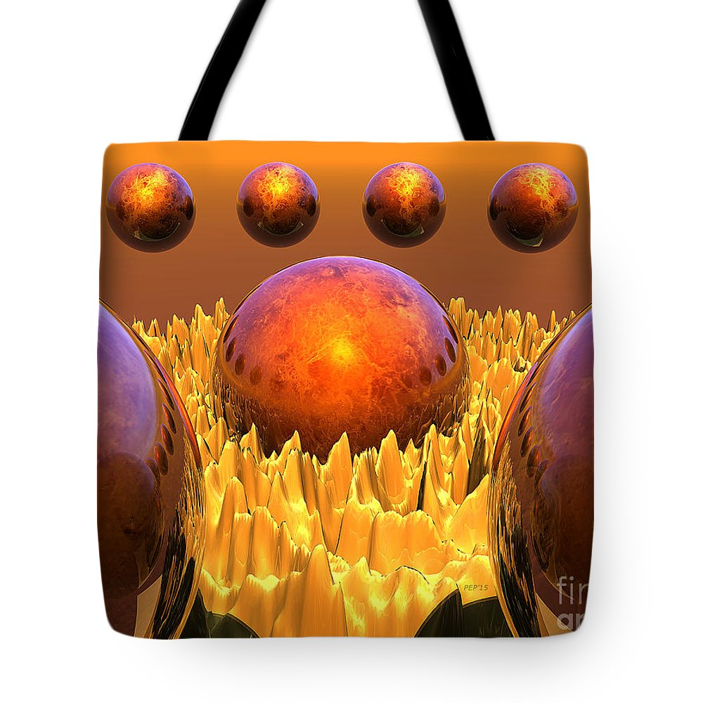 Surreal Tote Bag featuring the digital art Red Spheres by Phil Perkins
