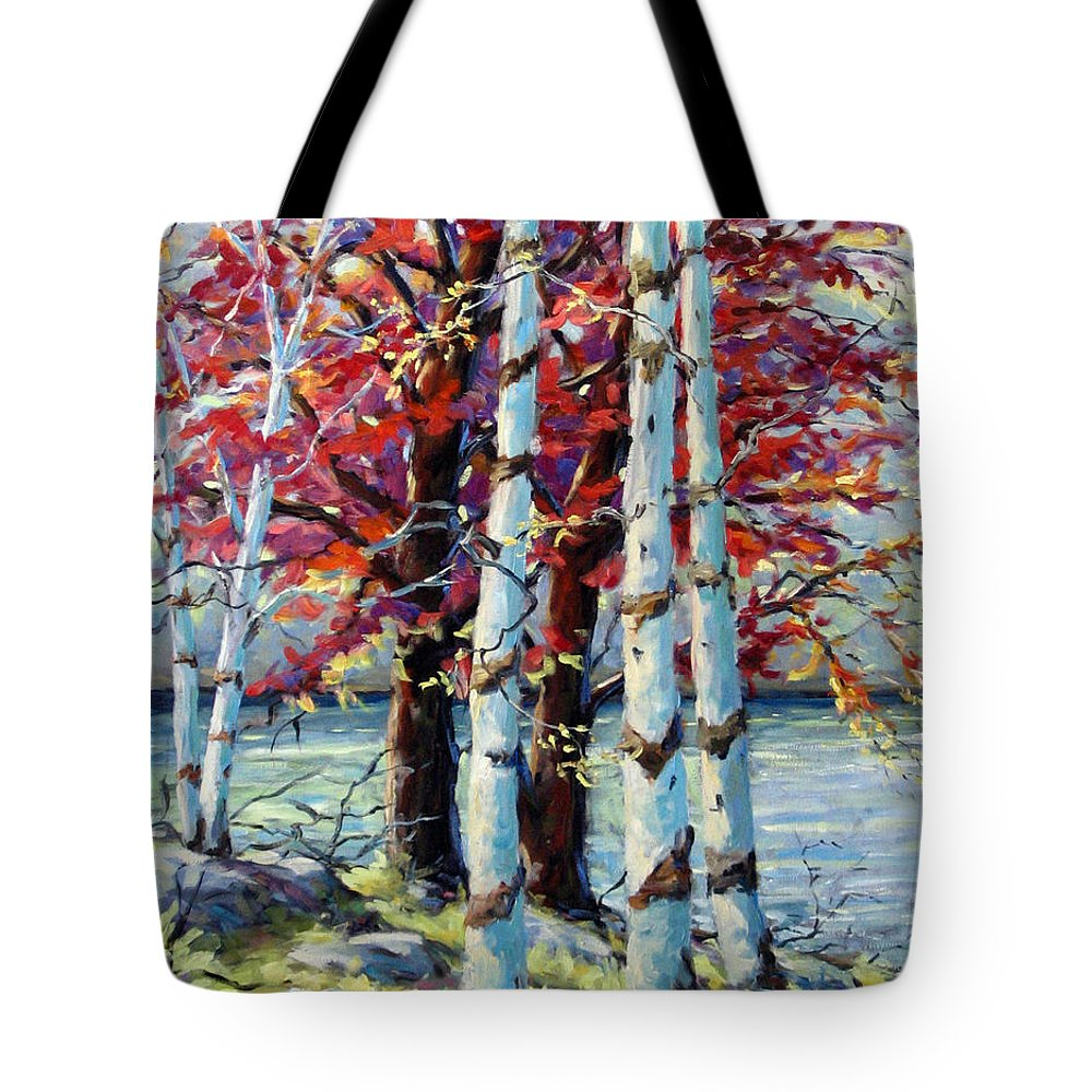 Birches Tote Bag featuring the painting Red Splash by Richard T Pranke