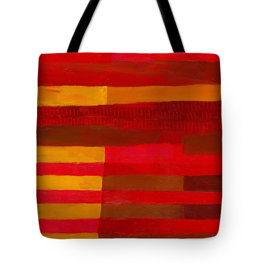 Abstract Art Tote Bag featuring the painting Red Stripes 1 by Jane Davies
