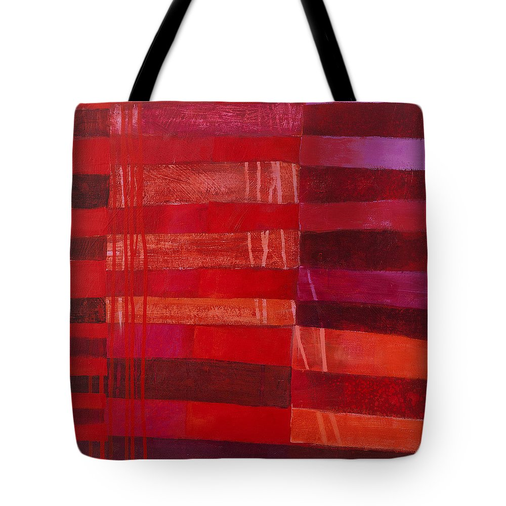 Abstract Art Tote Bag featuring the painting Red Stripes 2 by Jane Davies