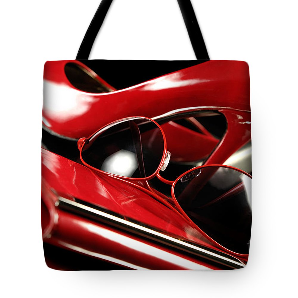Fashion Tote Bag featuring the photograph Red Stylish Accessories by Oleksiy Maksymenko