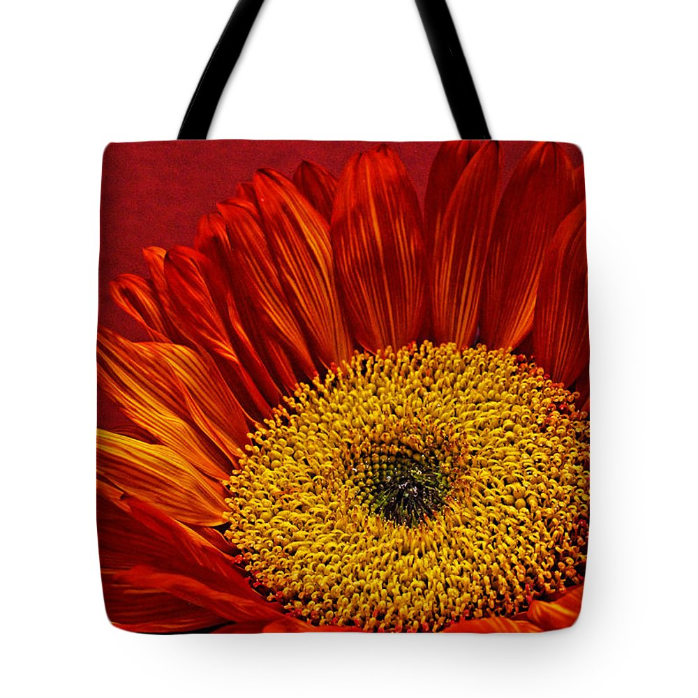 Red Sunflower Tote Bag featuring the photograph Red Sunflower Viii by Saija Lehtonen