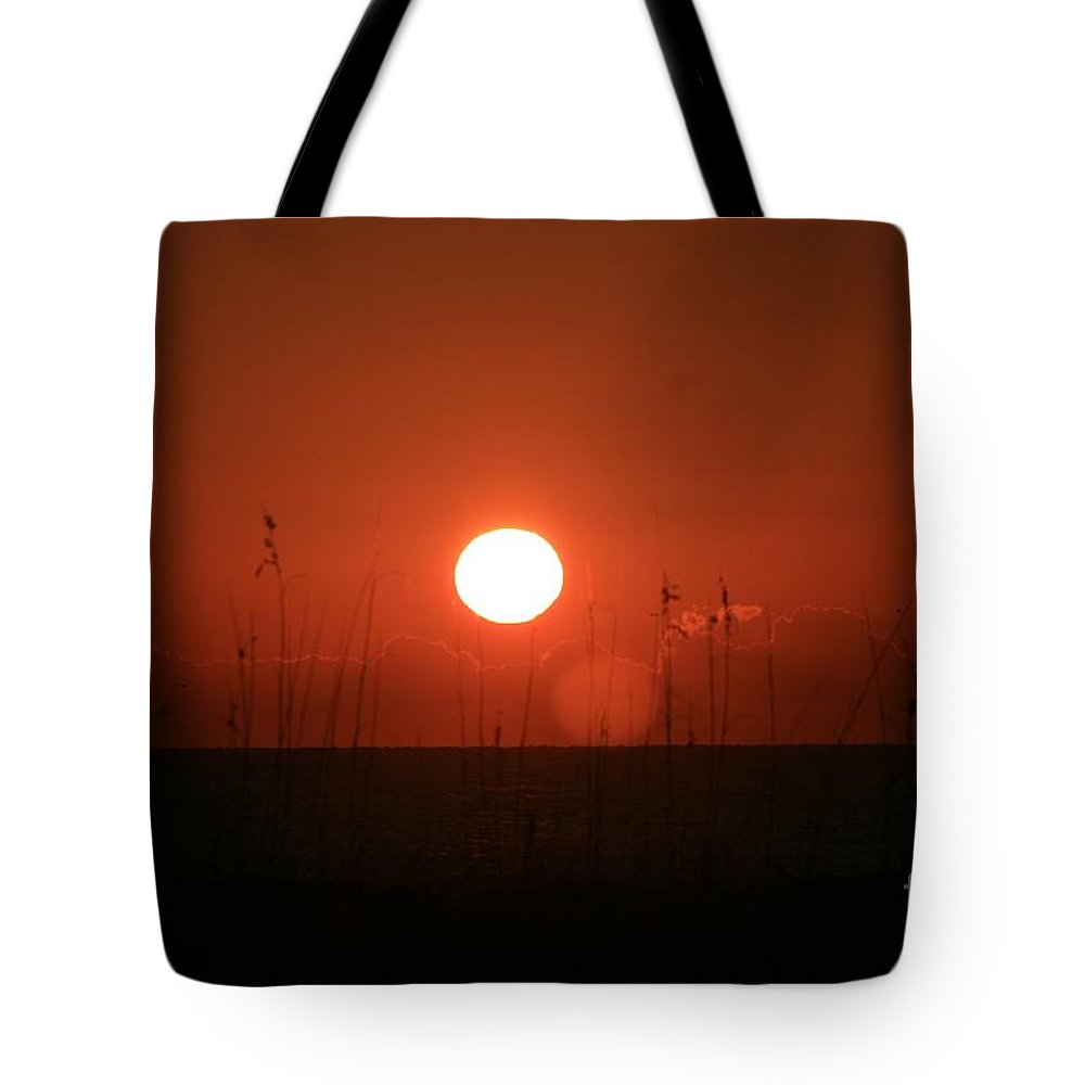 Sunset Tote Bag featuring the photograph Red Sunset And Grasses by Nadine Rippelmeyer