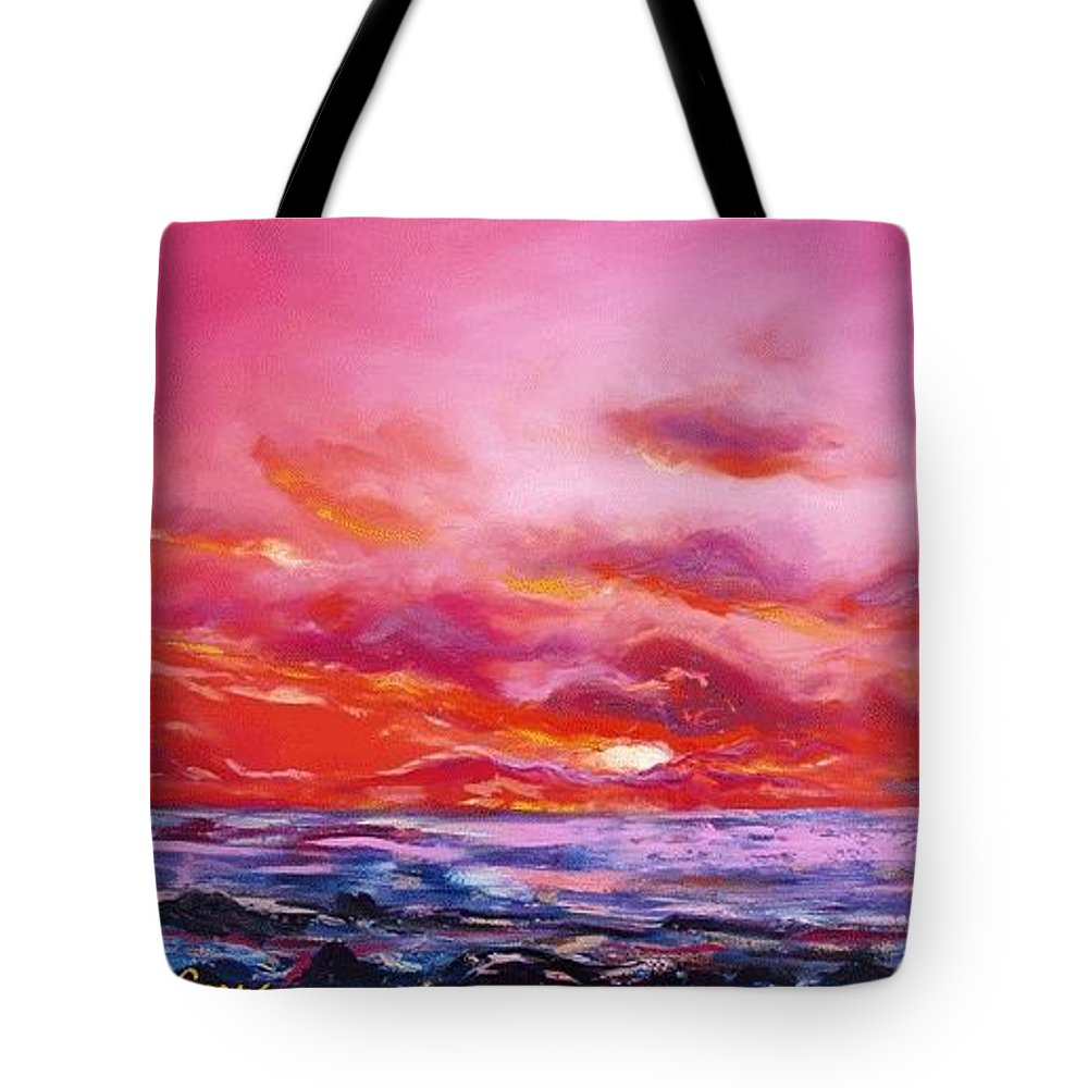 Red Tote Bag featuring the painting Red Sunset by Gina De Gorna