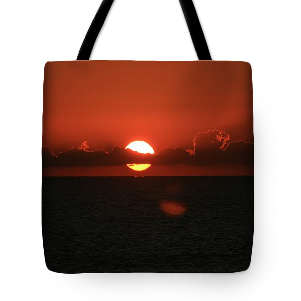 Sunset Tote Bag featuring the photograph Red Sunset Over The Atlantic by Nadine Rippelmeyer