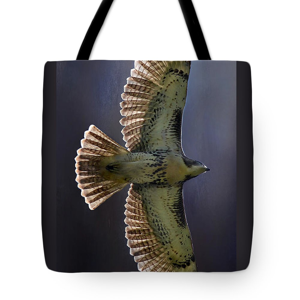 Flying Tote Bag featuring the photograph Red Tail Hawk by Kathy Russell