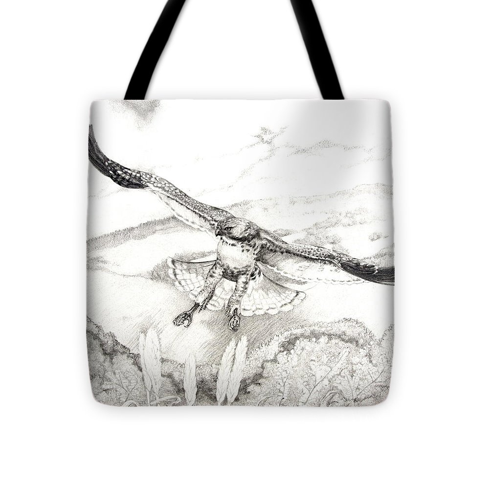 Red-tailed Hawk Tote Bag featuring the drawing Red-tailed Hawk Of Psalm 104 by Jill Iversen