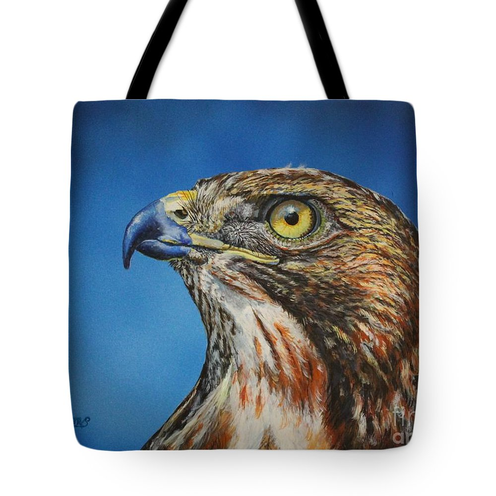Hawk Tote Bag featuring the painting Red-tailed Hawk......honor by Bob Williams