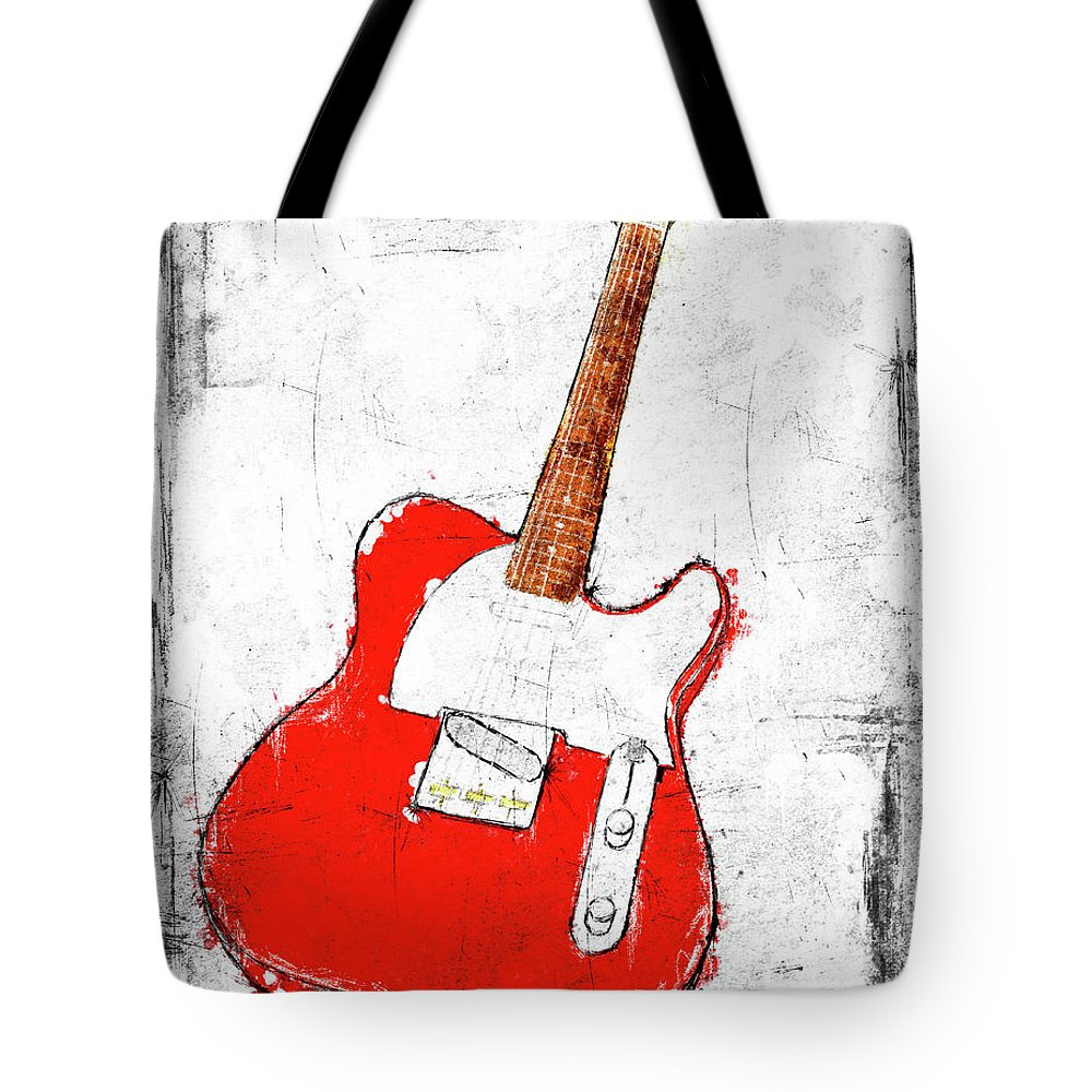 Guitar Tote Bag featuring the digital art Red Telecaster Fine Art Illustration By Roly O by Roly O