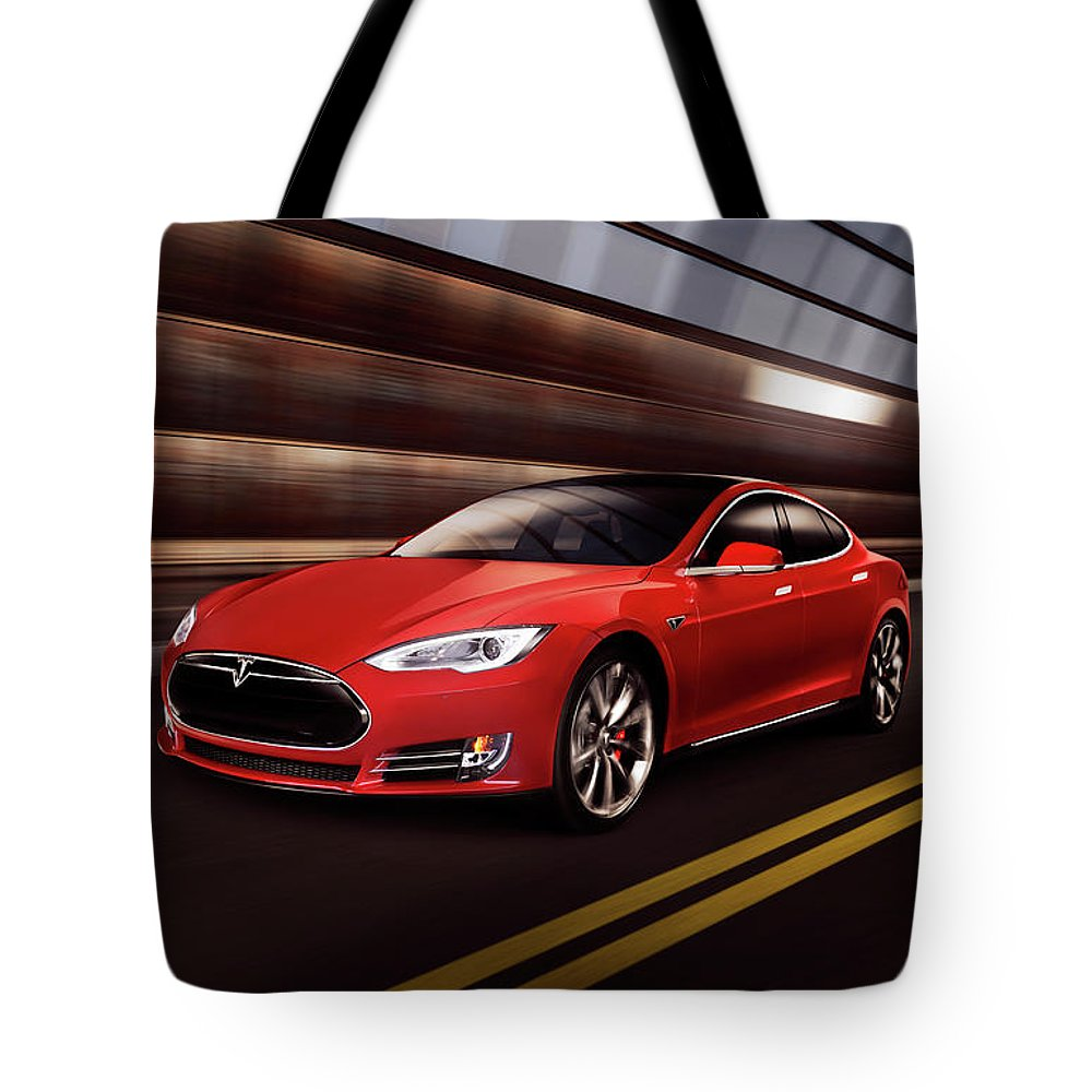 Tesla Tote Bag featuring the photograph Red Tesla Model S Red Luxury Electric Car Speeding In A Tunnel by Maxim Images Prints