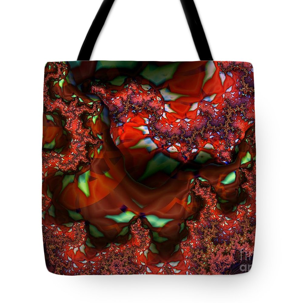 Berry Tote Bag featuring the digital art Red Thread by Ron Bissett