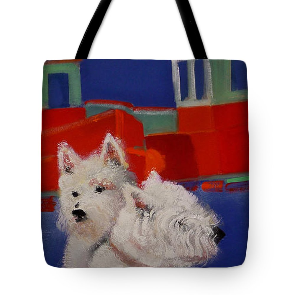Seascapes Tote Bag featuring the painting Red Trawlers by Charles Stuart
