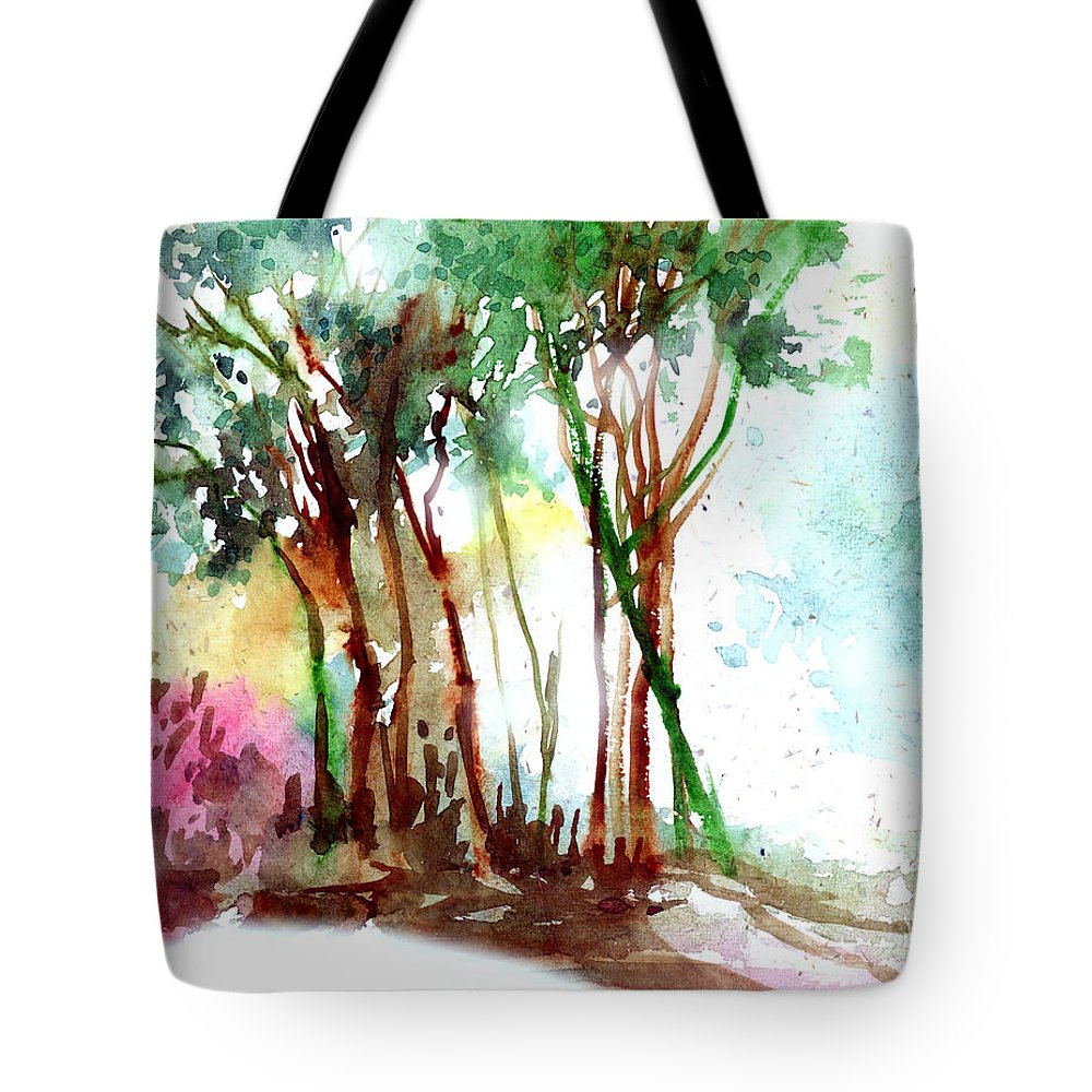 Landscape Tote Bag featuring the painting Red Trees by Anil Nene