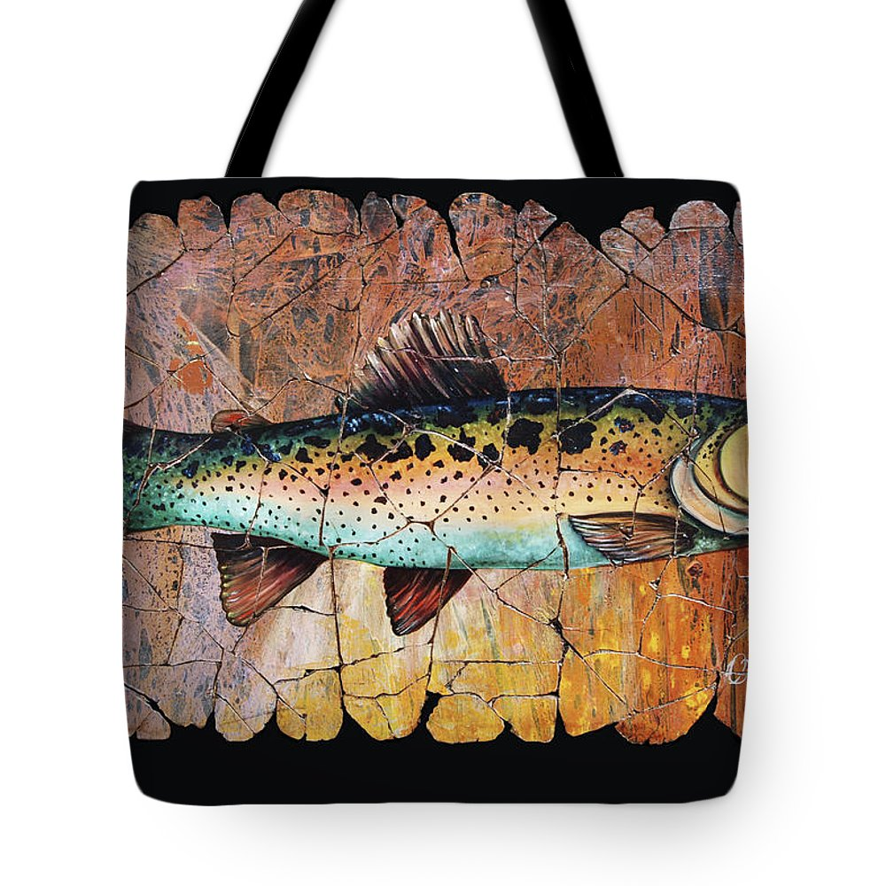Trout Fish Fresco Antique Painting Pond River Water Tote Bag featuring the painting Red Trout Fresco by Lena Owens OLena Art