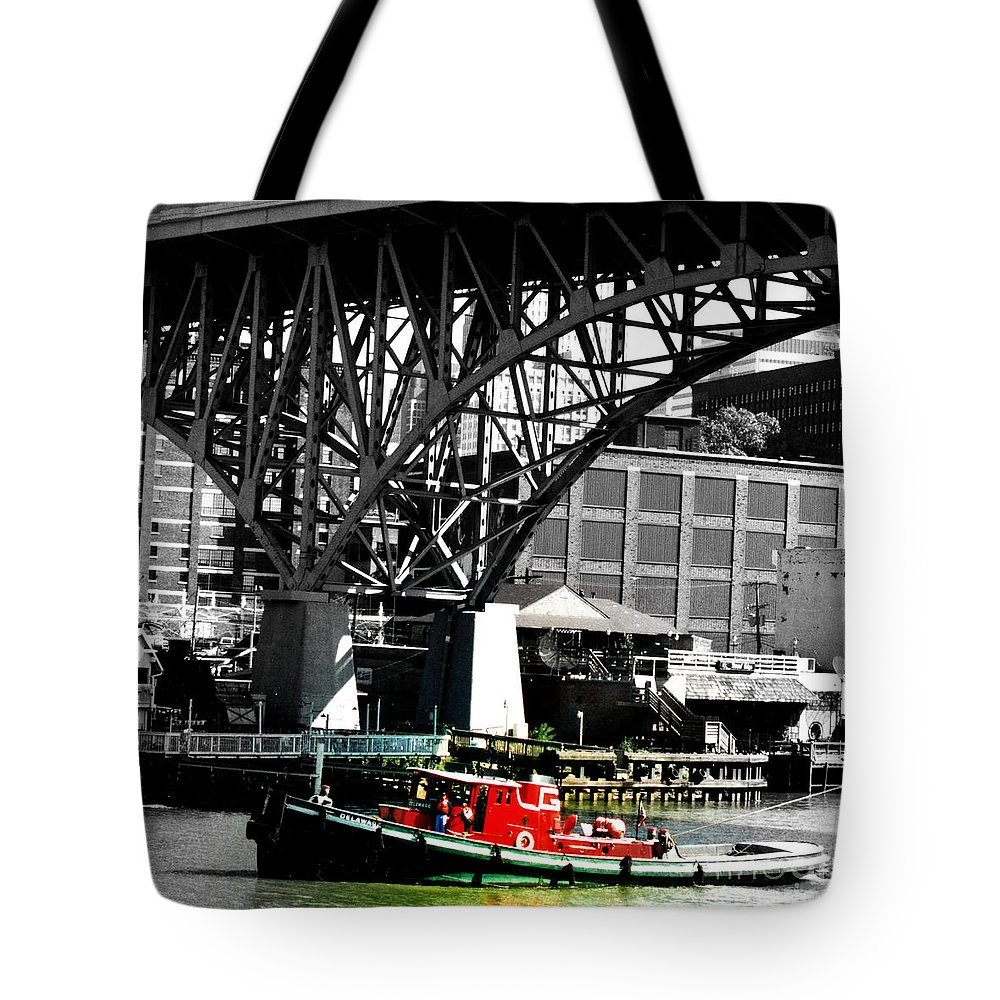Tug Tote Bag featuring the photograph Red Tug On Cuyahoga River by Cat McBrien