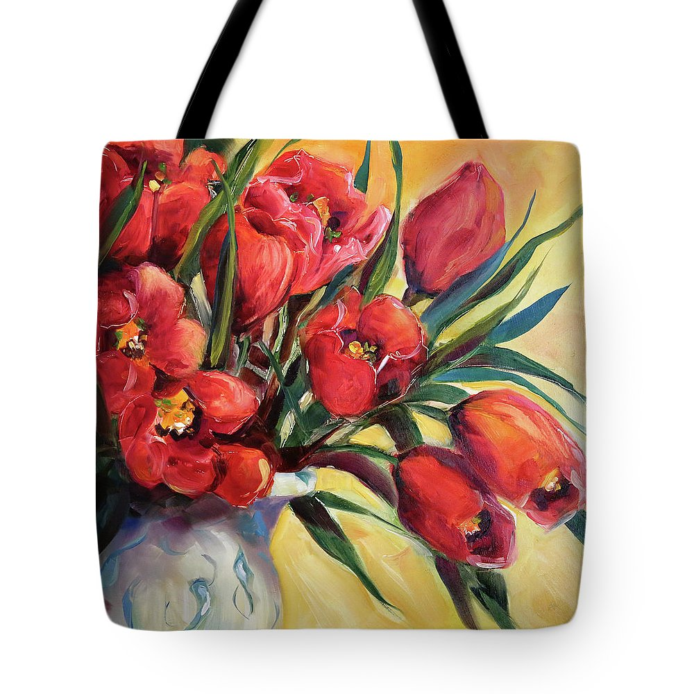Red Tulips Tote Bag featuring the painting Red Tulip Kiss by Laurie Pace