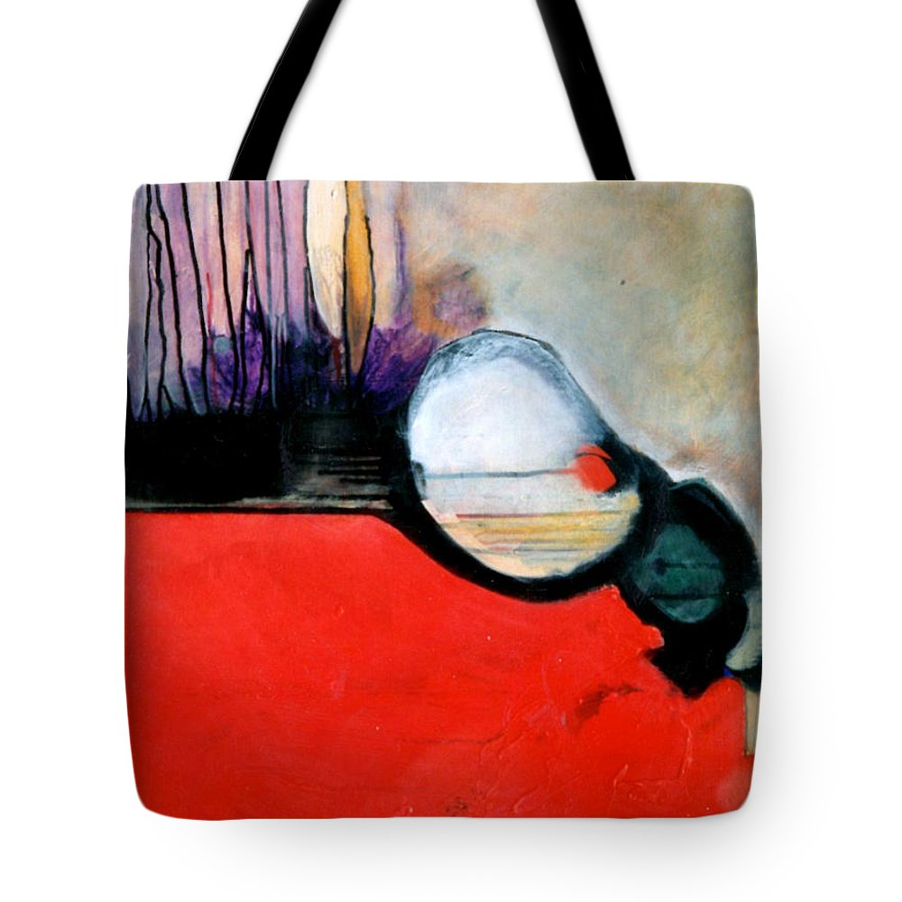 Abstract Tote Bag featuring the painting Red Twin Leaps And Bounds by Marlene Burns