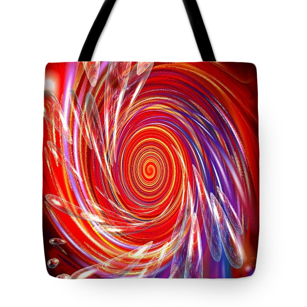 Red Tote Bag featuring the digital art Red Twirl by Natalie Holland