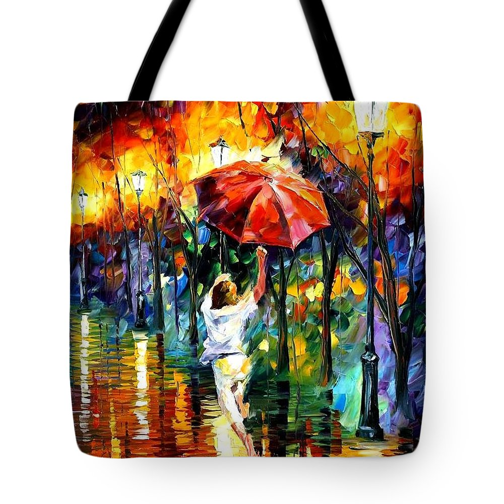 Afremov Tote Bag featuring the painting Red Umbrella by Leonid Afremov