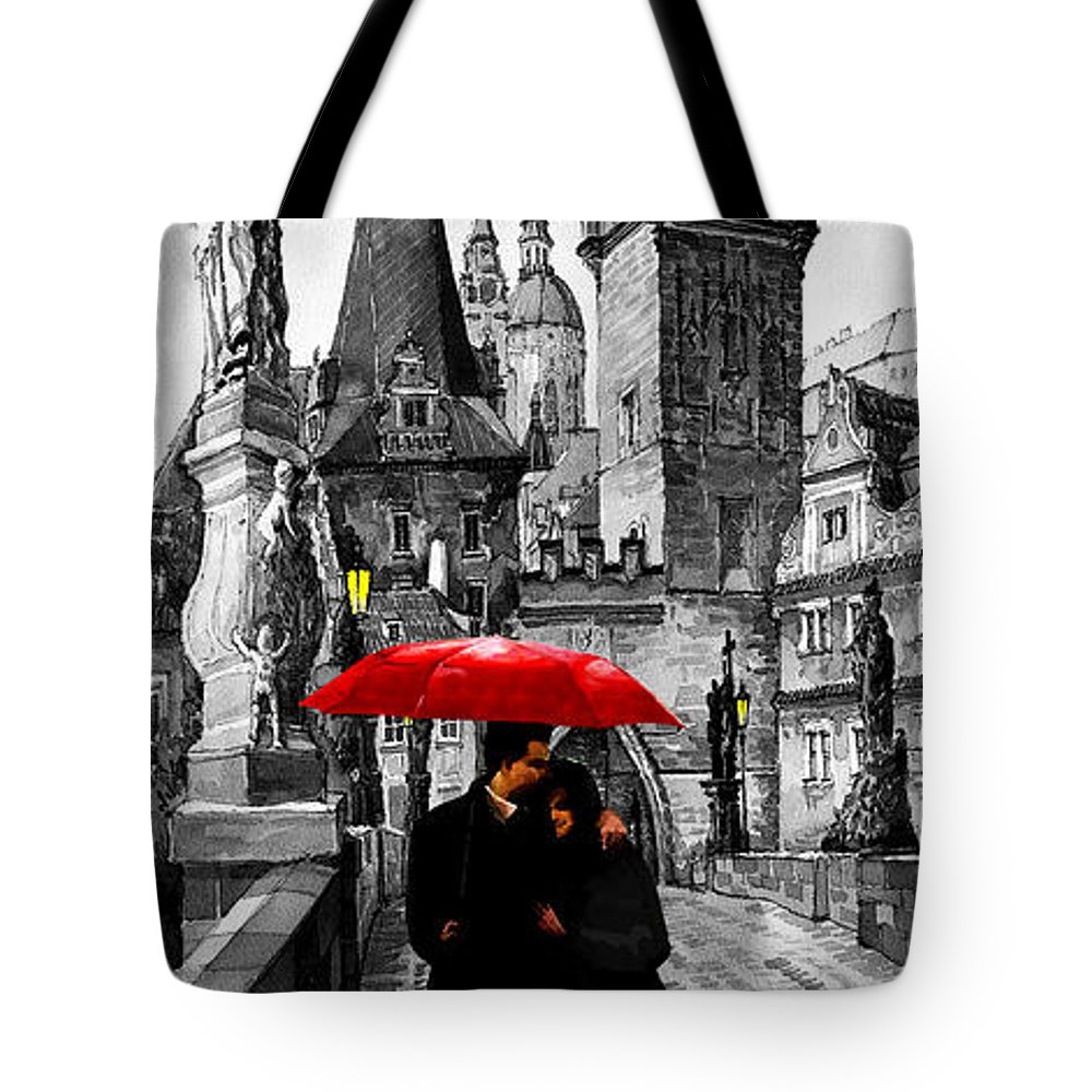 Mix Media Tote Bag featuring the mixed media Red Umbrella by Yuriy Shevchuk