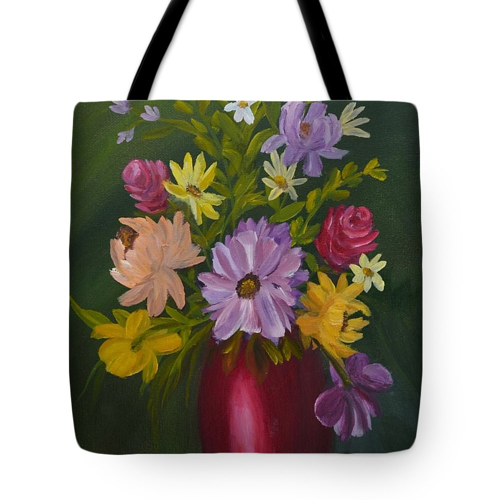Yellow Flowers Tote Bag featuring the painting Red Vase Still Life by Sally Jones