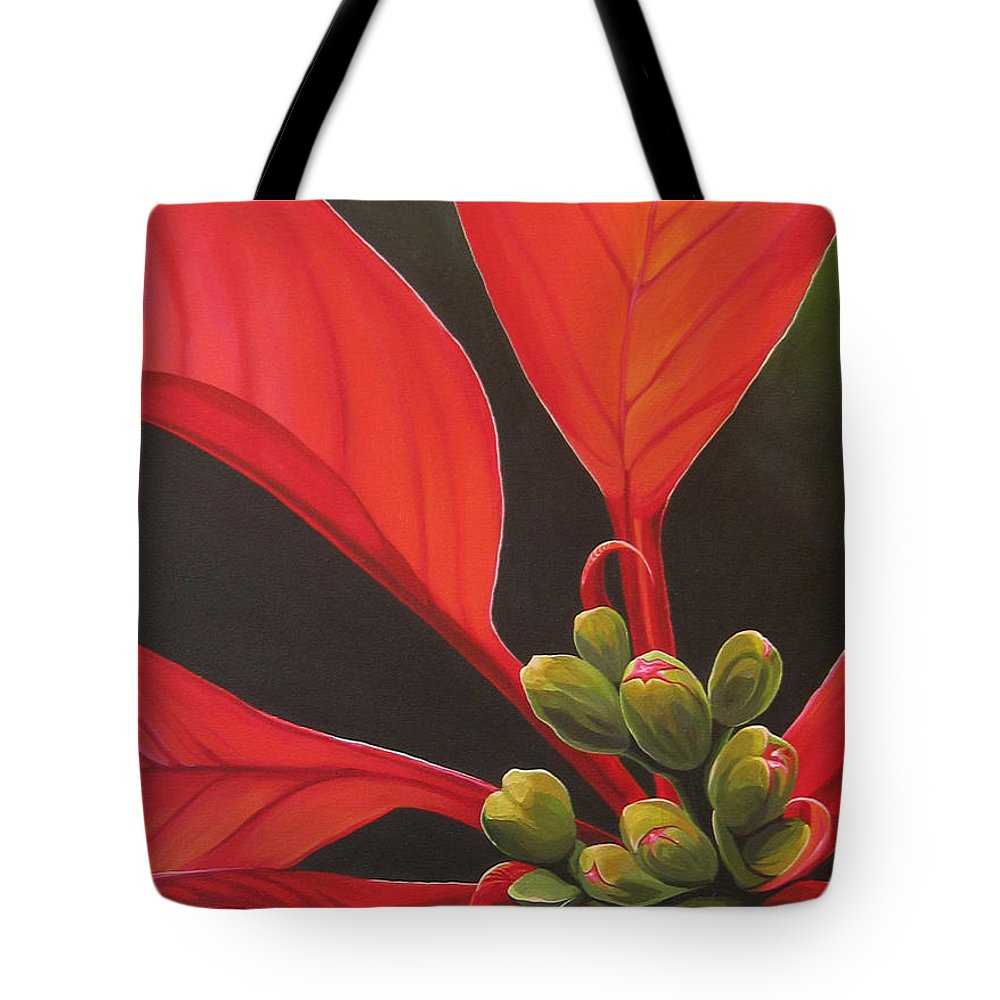 Poinsettia Closeup Tote Bag featuring the painting Red Velvet by Hunter Jay