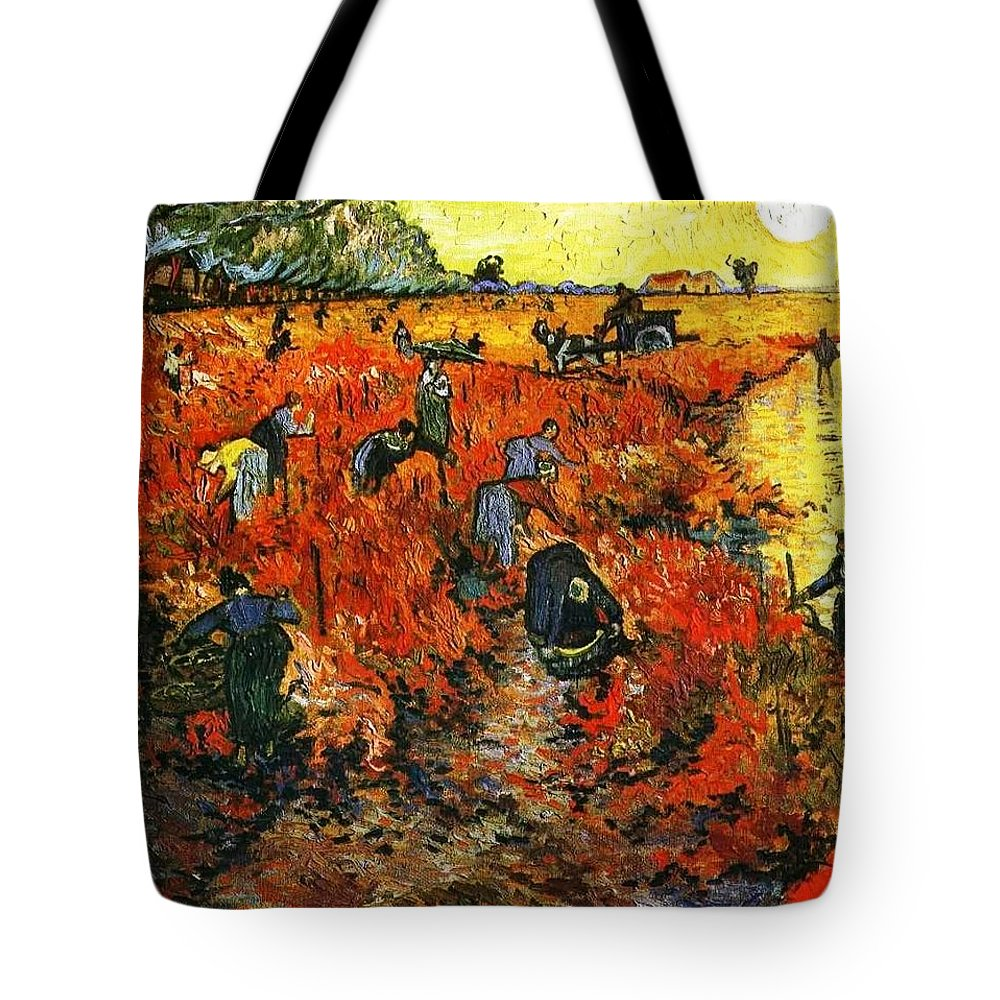Impressionism Tote Bag featuring the painting Red Vineyard by Sumit Mehndiratta