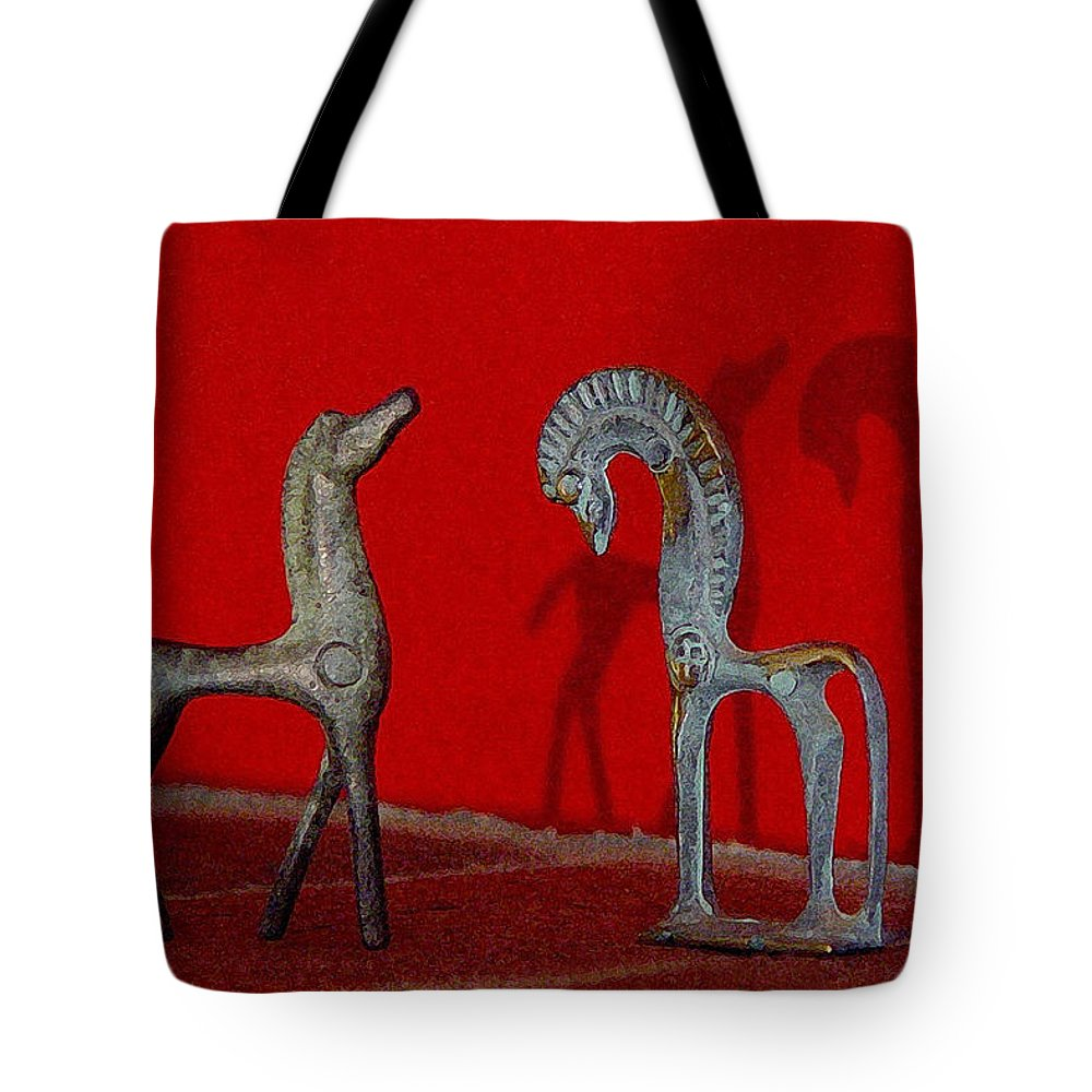 Red Wall Tote Bag featuring the digital art Red Wall Horse Statues by Jana Russon