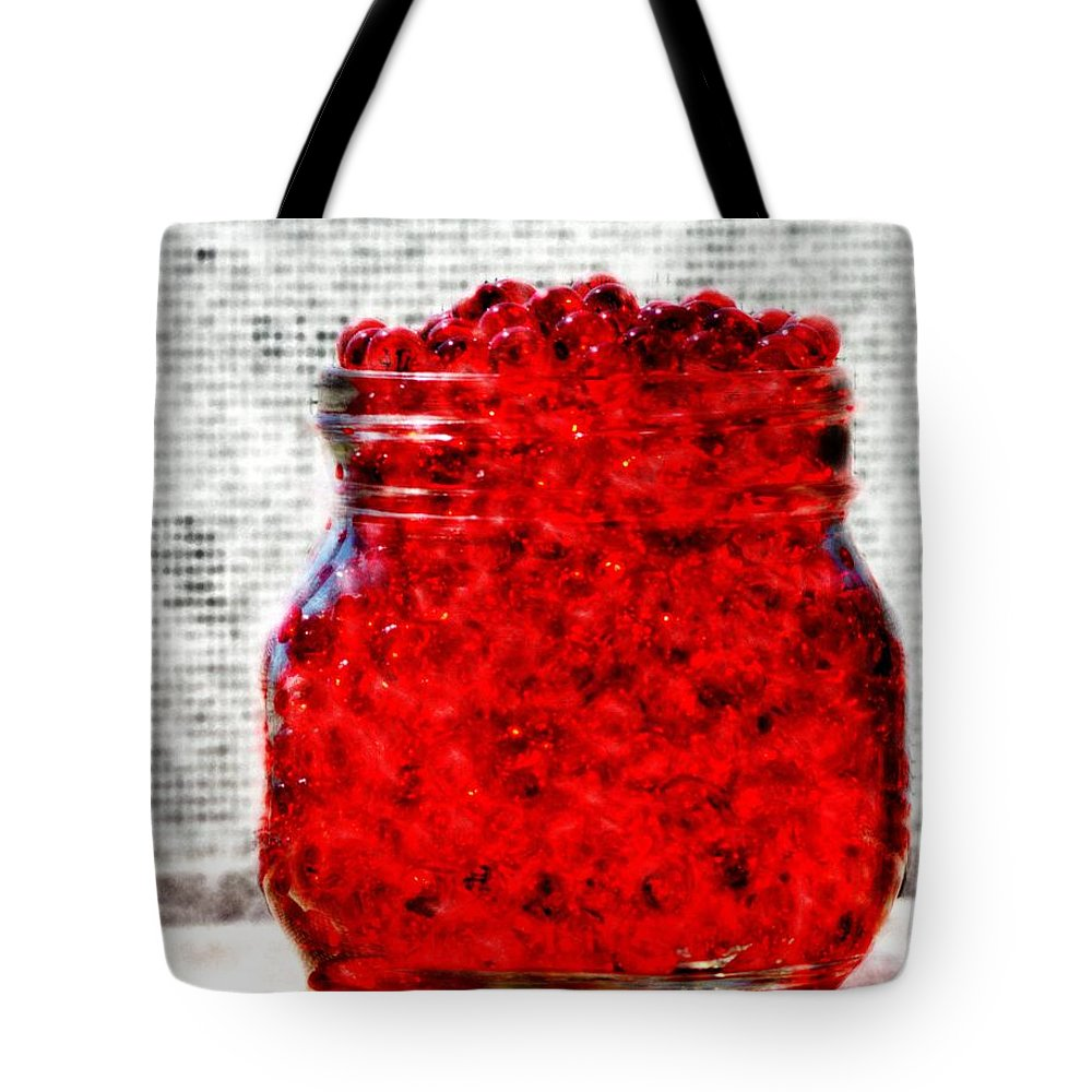Digital Watercolor Tote Bag featuring the digital art Red Watercolor Beads by Aliceann Carlton