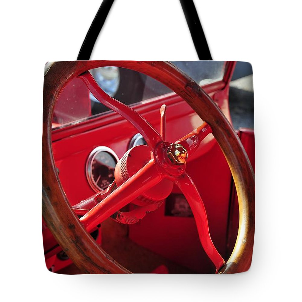 Antic Car Tote Bag featuring the photograph Red Wheel by David Lee Thompson