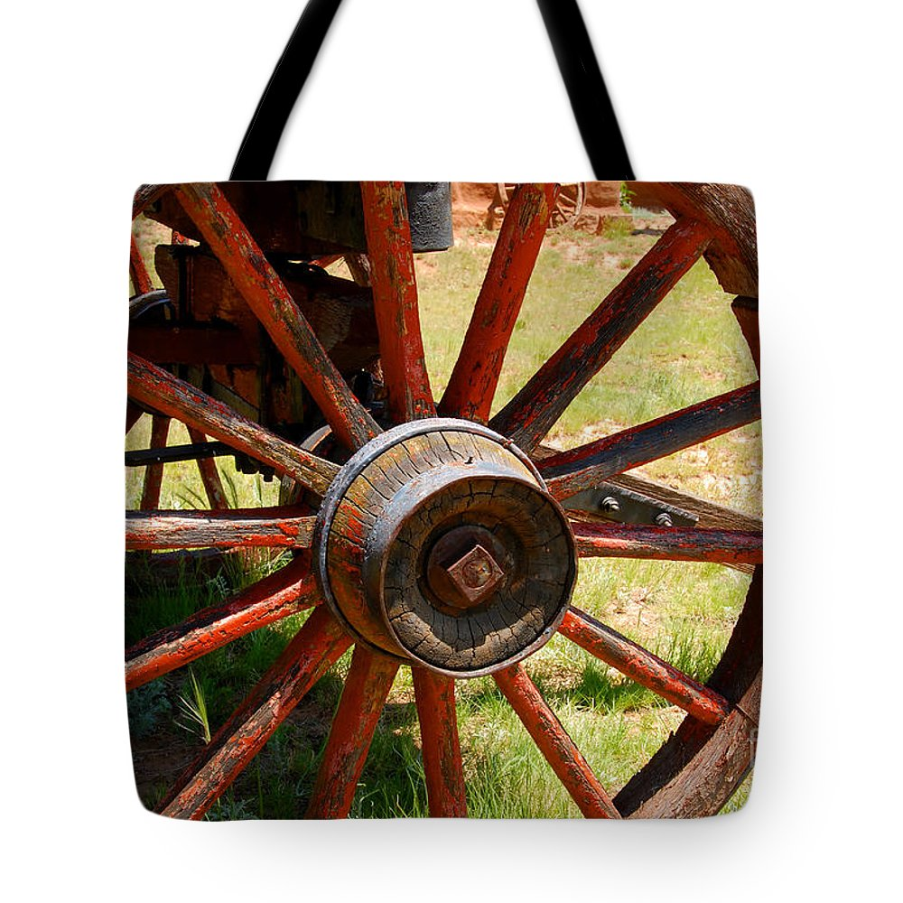Wagon Tote Bag featuring the photograph Red Wheels by David Lee Thompson