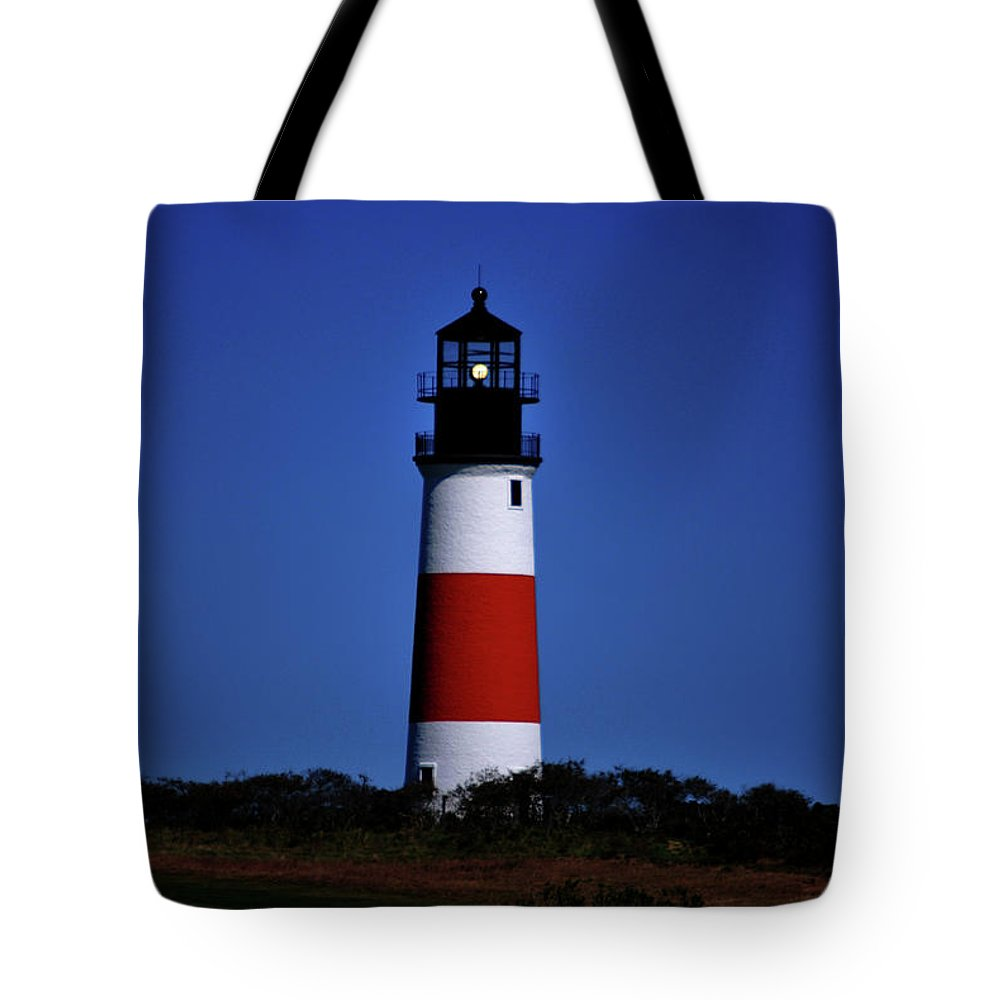 Lighthouse Tote Bag featuring the photograph Red White And Blue by Lori Tambakis