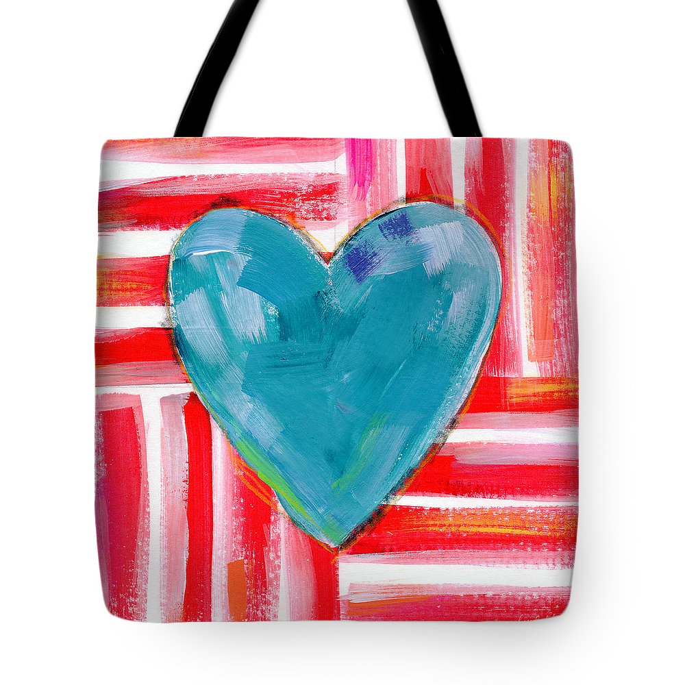 Heart Tote Bag featuring the painting Red White And Blue Love- Art By Linda Woods by Linda Woods