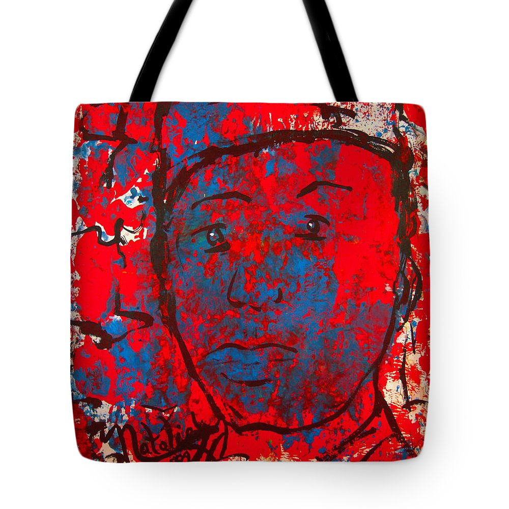 Man Tote Bag featuring the painting Red White And Blue by Natalie Holland