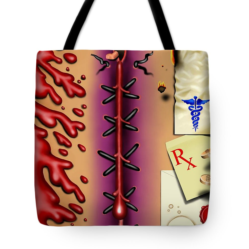 Surrealism Tote Bag featuring the digital art Red White And Bruised I by Robert Morin