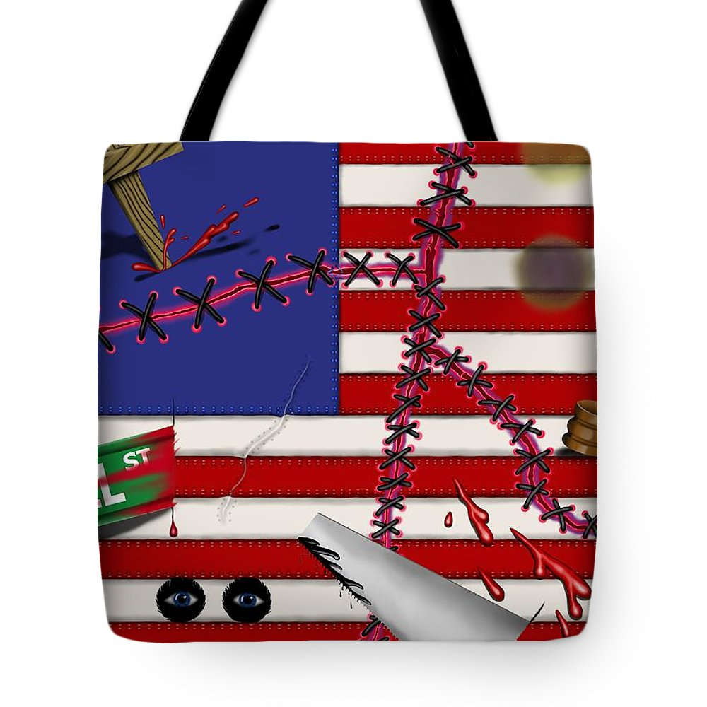 Surrealism Tote Bag featuring the digital art Red White and Bruised III by Robert Morin