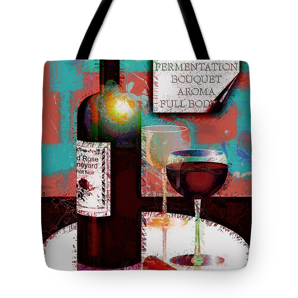 Wine Tote Bag featuring the digital art Red Wine For Two by Arline Wagner