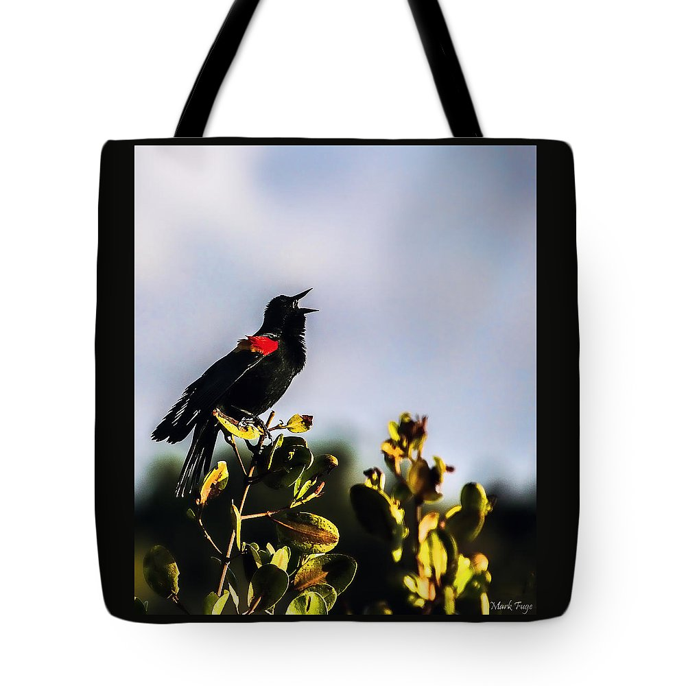 Florida Tote Bag featuring the photograph Red Wing Black Bird by Mark Fuge