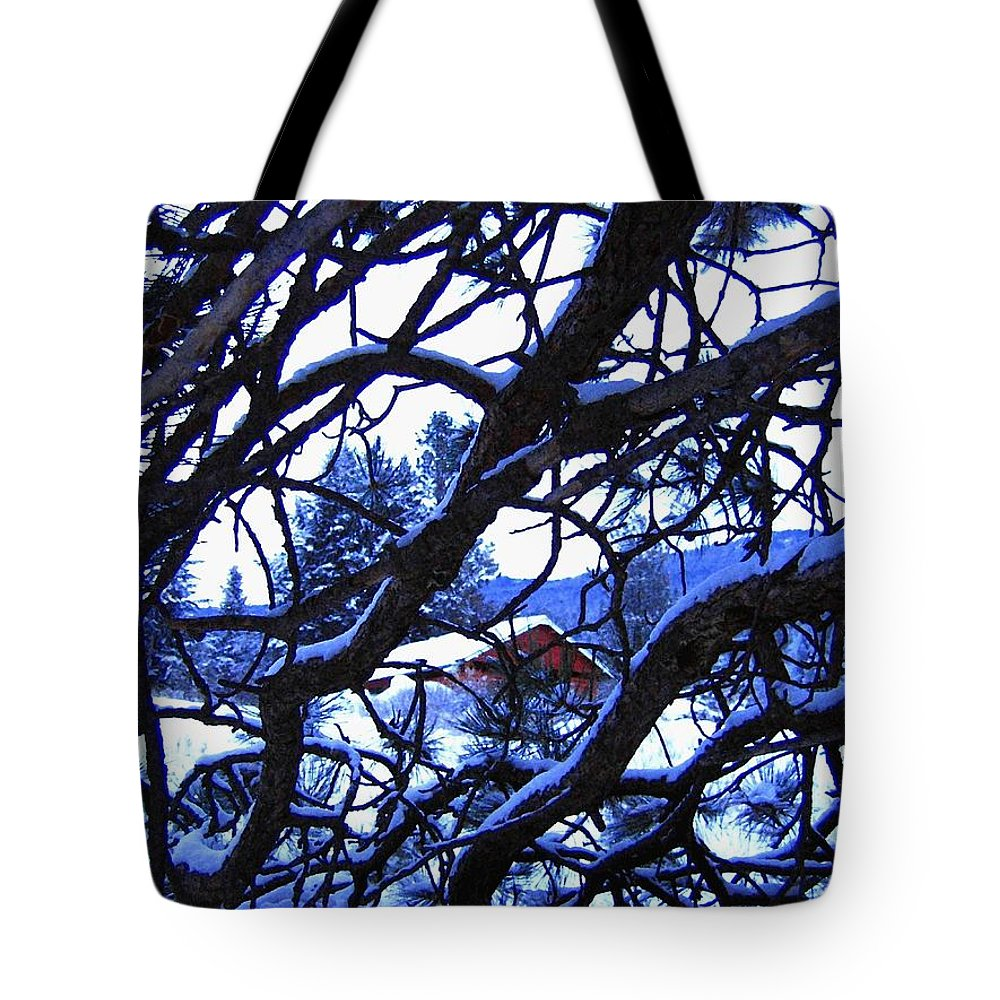 Red Woodshed Tote Bag featuring the photograph Red Woodshed by Will Borden
