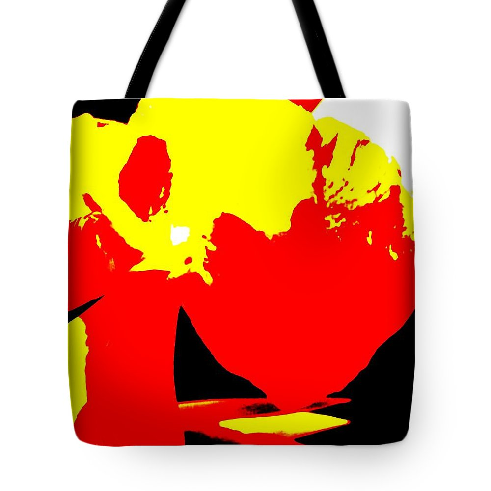 Abstract Tote Bag featuring the photograph Red Yellow Abstract by Eric Schiabor