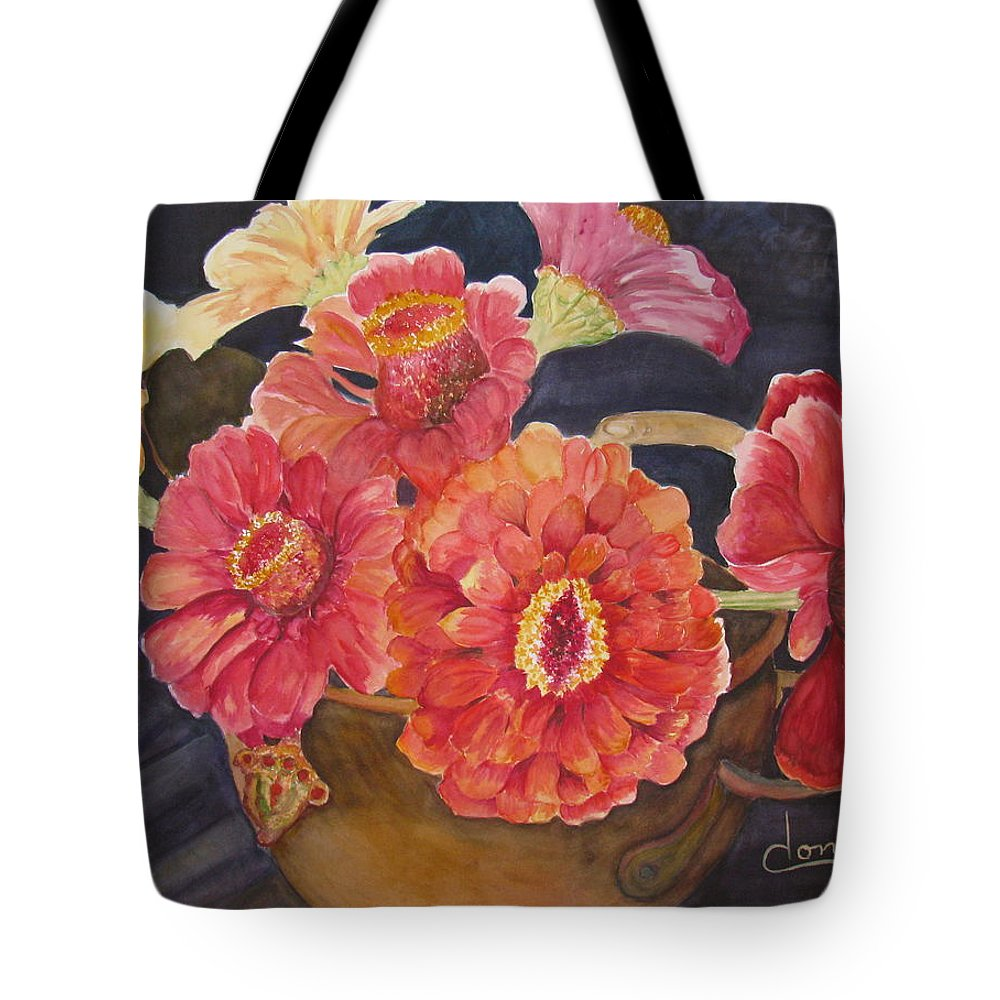 Flowers Tote Bag featuring the painting Red Zinnias by Donna Steward