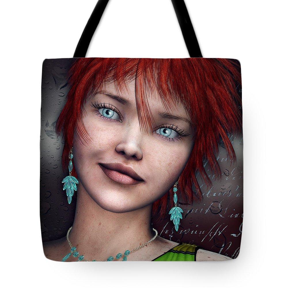 3d Tote Bag featuring the digital art Redhead by Jutta Maria Pusl