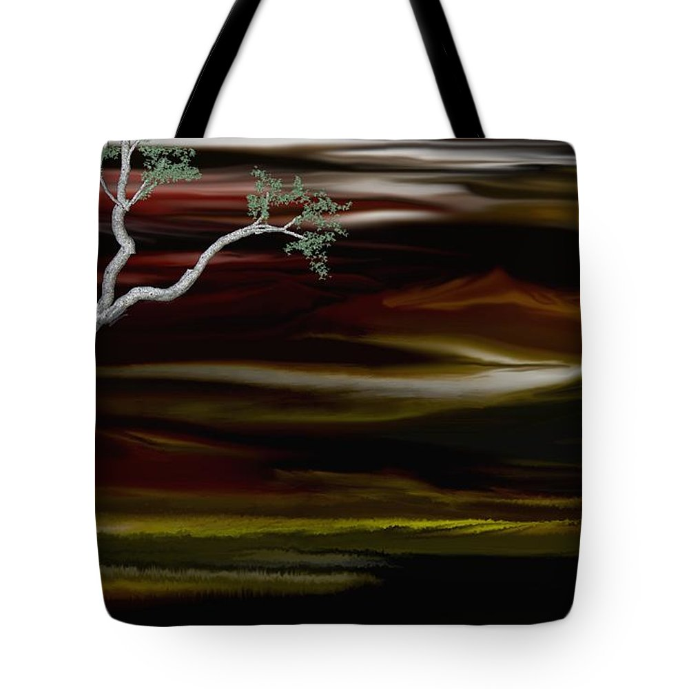 Digital Landscape Tote Bag featuring the digital art Redscape by David Lane